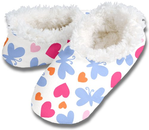 Womens Dots and Hearts Comfy Cozy Snoozies Slippers, XL Extra Large 11/12, Butterfly Hearts
