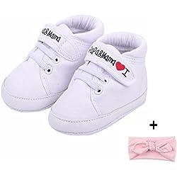 Amison Niedlich Baby Säugling Kind Junge Mädchen weiche Sohle Leinwand Sneaker Kleinkind Schuhe (0-6 Monate, Weiß)