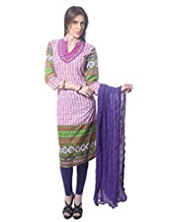 Saving Tree Multicolor Cotton A Line Suit With Matching Contrast Legging And Dupatta - B00QIEJ5SA