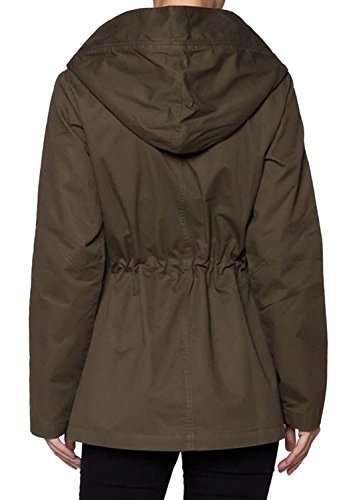 makeitmint Women's Button Zipper Military Safari Anorak Coat Jacket w/ Hood Large YJH0013_Olive