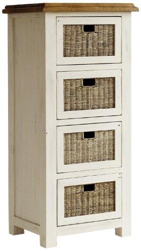 FH302030 Bodde Kommode mit Rattankörben, Massivholz, 4 Fächer, 58 x 127 x 45 cm, kiefer weiß / honigfarbig
