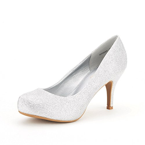 DREAM PAIRS TIFFANY Women's Bridal Wedding Party Glitter Rhinestone Low Heel Platform Pump Shoes Silver Size 7.5