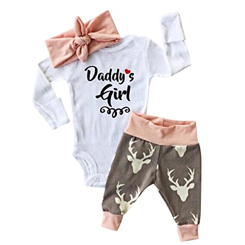 Clothes Set ,BeautyVan Kid Xmas Newborn Baby Girl Romper Bodysuit+Pants Hairband Clothes Outfits Set (18M, White)