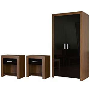 Bedroom Furniture Set Black Gloss Walnut Wardrobe And Bedside Tables