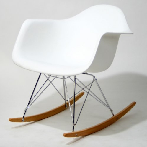 Molded Plastic Rocking Baxton Studio Letterio White Cradle Chair Contemporary Rocking Arm Chair Picture