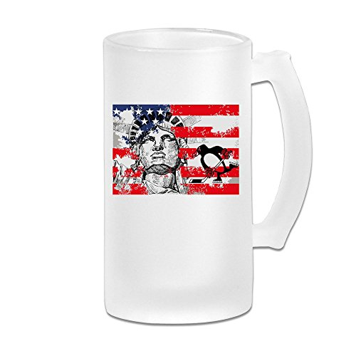 CHA CUPS Penguins With Flag And Statue Of Liberty Grind Beer Glass Mug White