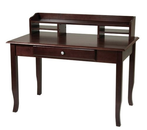 Buy Low Price Comfortable Computer Desk with Hutch in Merlot Finish (B004LVTIOS)