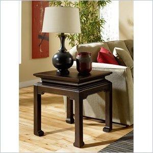 Cheap Hammary Chow Square End Table in Rub Through Black (107-915)