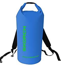 SKORCH Waterproof Backpacks With Comfortable Black Padded Shoulder Straps, 30 litre. Protects Your Gear From Water and Dirt While You Have Fun. Beach, Kayak, Paddle Board, Camping, Sailing and Skiing