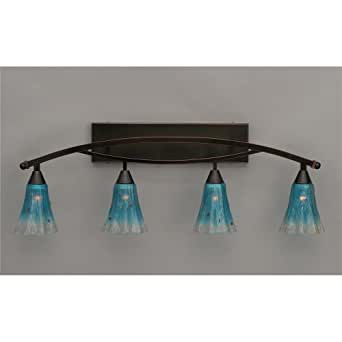 Vanity Light Bar Crystal : Toltec Lighting 174-BC-725 Bow - Four Light Bath Bar, Black Copper Finish with Teal Crystal ...