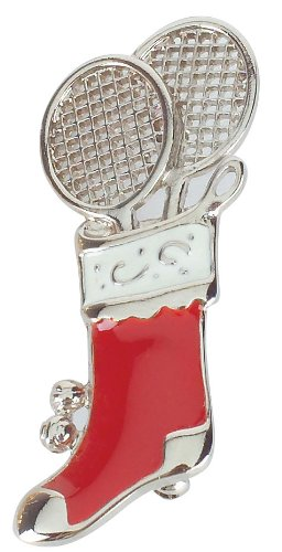 TENNIS STOCKING JEWLERY PIN- NAVIKA HOLIDAY DESIGNS