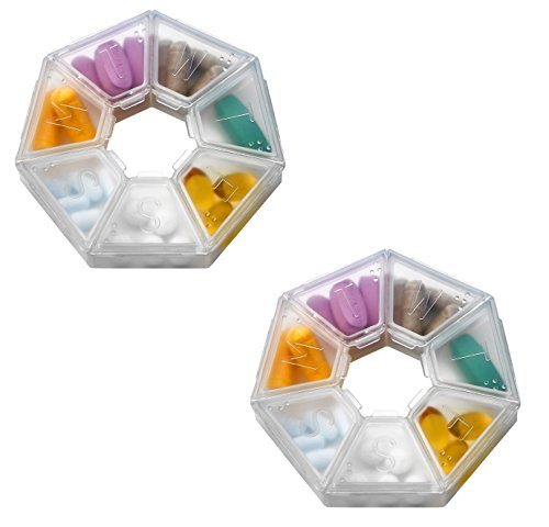 MEDca Weekly Pill Organizer Clear 7-Sided Pill Reminder, Round Shaped 2 PACK (Clear Pill Container compare prices)