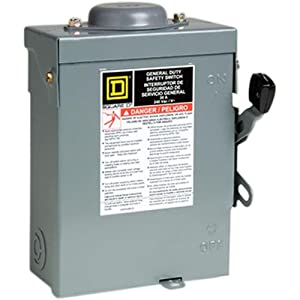 Square D by Schneider Electric D321NRBCP 30-Amp 240-Volt Three-Pole Outdoor General Duty Fusible Safety Switch with Neutral