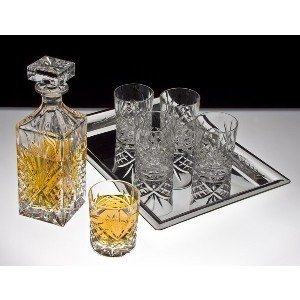 25649 Decanter and 6 Double Old Fashioned Glasses W/ Tray