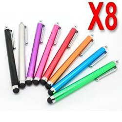 HSINI Original 8 x Universal Capacitive Stylus Pen for ipad 1 & 2, iPhone 4, HTC, Tablet pc, Asus Tablets, Advent, Samsung Galaxy, Mobile Phones, PC, Blackberry Playbook & Phones, Android and all other Capacitive Screens Devices - Universal Stylus Touchscreen pen - Assorted Colours