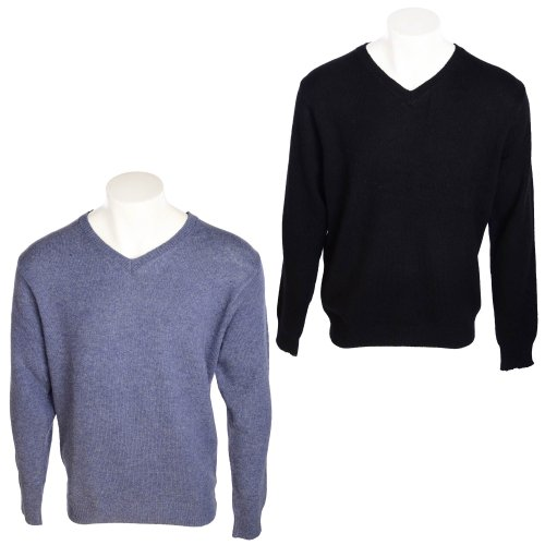 Harbour Collection Men's 2 Pack Denim Blue & Black 100% Lambswool Jumpers in Size XLarge