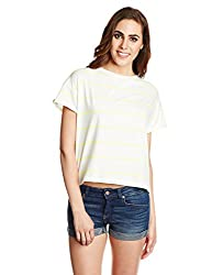 Sera Women's Striped T-Shirt (LA2005-NeonLime-L)