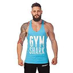 Summer Sweat Gymshark Fitness Muscles Vest Cotton Loose Sports Gym Vest (M, Blue)