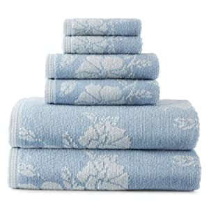 Liz Claiborne 6 Pc Floral Bath Towel Set Includes 30x58 Bathtowels 15x28