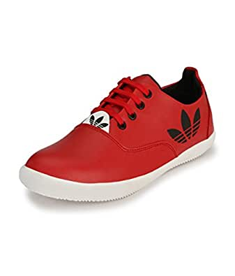 Knoos Men Synthetic Leather Sneakers (C9-12-RD, Red, Size: 6 UK/IND)-C9-12-RD-6