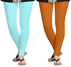 Aannie Women's Cotton Slim Fit Leggings Combo Pack of 2(X-Large,Baby Blue,Soil Red)