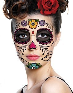 Floral Day of the Dead Sugar Skull Temporary Face Tattoo Kit - Pack of 2 Kits