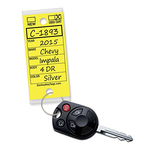 Donkey Key Tags, Self-Protecting (250 Tags Per Box with Metal Rings) (Yellow) (Car Dealer Supplies compare prices)