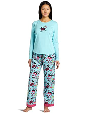 Cinema Etoile Women's Mix N' Match Three Piece Pajama Set, I Love Shopping, Large