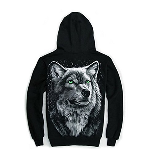 Mens 3D Rock Wolf Head Casual Top Coat Zip Long Sleeve Cotton Skull Mask Hoodie (XL)