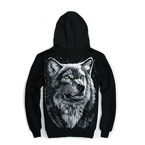 Mens 3D Rock Wolf Head Casual Top Coat Zip Long Sleeve Cotton Skull Mask Hoodie (XL)