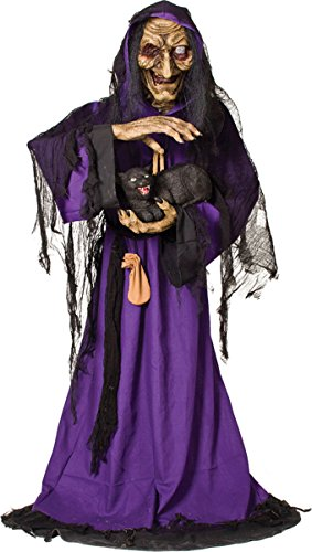 [Life Size Animated-Scary Witch-Black Cat-Haunted House Halloween Prop - CFP] (Black Spider Animated Prop)