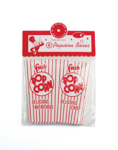 Party Partners Design Old Time Popcorn Snack Boxes, Red/White, 6 Count (Concession Snacks compare prices)