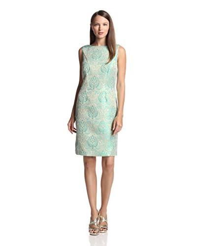 Chetta B Women's Brocade Sheath Dress  [Azure/Gold]