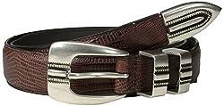 Alexander Julian Men's Lizard Grain Sport Belt, Brown, 32