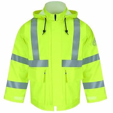 Bulwark Flame Resistant 10 oz Hi-Visibility Regular Rain Jacket HRC2, Take-up Tabs on Cuff, Yellow/Green, 4X-Large