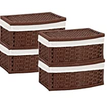 Baskets Curved w/ Lid Stained Paper Rope Wicker Set of 4