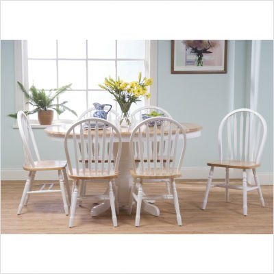 Target Marketing Systems 7 Piece Farmhouse Dining Set, white/natural