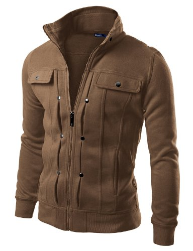 Doublju Mens Highneck Zip Up Jacket KHAKI (US-M)
