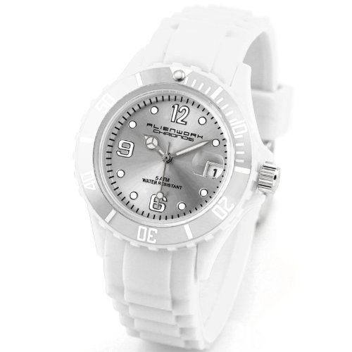 Alienwork Chronos Quartz Watch Water Resistant 5ATM Wristwatch Silicone white white