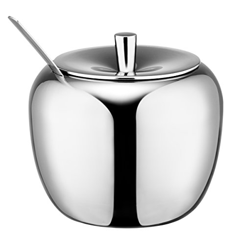 HardNok Stainless Steel Sugar Bowl with Lid and Sugar Spoon, 16.9 Ounces (500 Milliliter) (Sugar Holder With Lid compare prices)