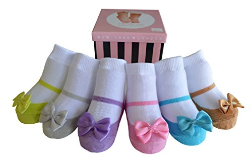 Baby Emporio-6 Pr-Baby Girl Socks that look like Shoes-Anti-slip Soles-Cotton-Gift Box
