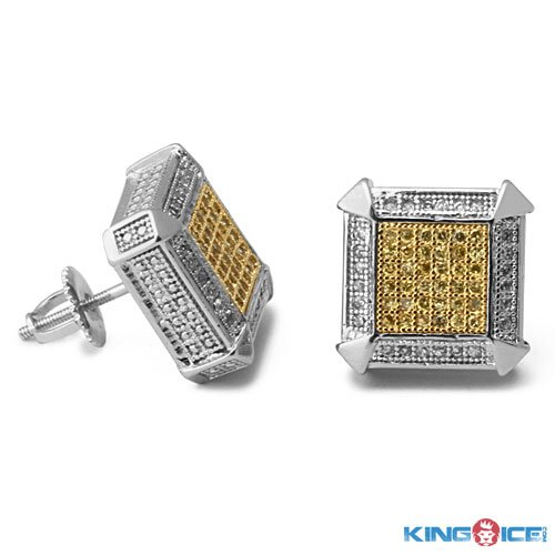 King Ice Silver Plated Two Tone Rappers Earrings