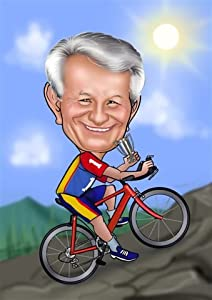Karikatur vom Foto: Fahrrad, Rennrad - Poster 40x30cm