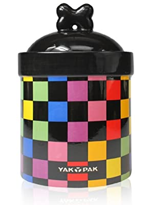 Yak Pak Multi Check Dog Treat Jar, 8-Inch