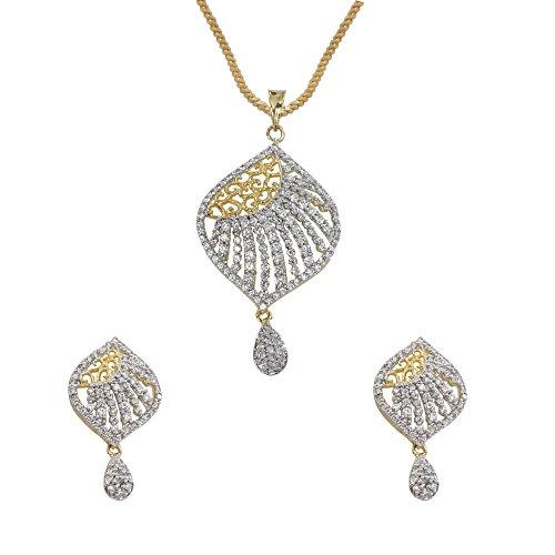 Sheetal Jewellery Silver & Golden Brass & Alloy Pendant Set For Women - B00TIH0MCM