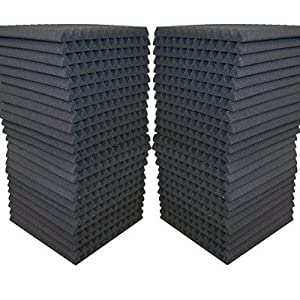 """48 Pack - Acoustic Panels Studio Soundproofing Foam Wedge tiles 1""""x12""""x12"""" 100% Made in USA"""