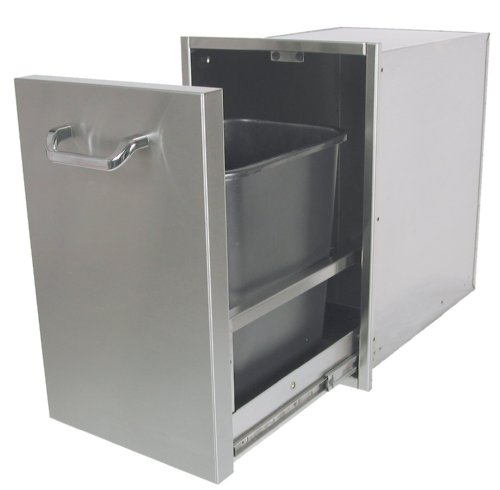 Solaire Pull-out Trash Enclosure for Built-in Islands, Stainless Steel