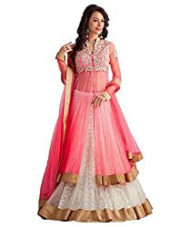 Metroz Wedding Ware Pink and White Embroidered Net Lehenga Choli