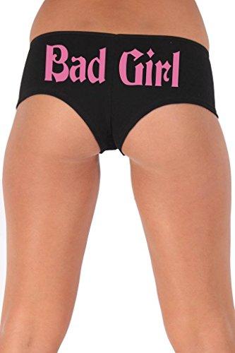 [Women's Juniors Pink Bad Girl Booty Shorts: BLACK LARGE] (Biker Babe Sexy Costumes)