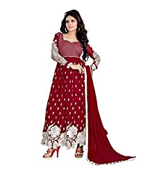 Youth Mantra Women's embroidered Georgette Maroon Dress materials